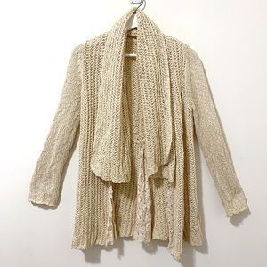 Knitted & Knotted open waterfall cardigan